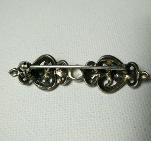 Judith Jack Jewelry - Vintage JUDITH JACK 925 Marcasite Pearl Pin Brooch